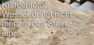 CleanPrince Natursteinversiegelung 1 Liter wasserabweisend ölabweisend, hochergiebig, frostbeständig, UV-stabil, ohne Glanz, Gartenplatten, Terrassenplatten, Klinker, Ziegel, Sandstein, Granit, unpoliertes Feinsteinzeug, offenporige Pflanzkübel aus Keramik oder Terrakotta. Es ist eine wasser- sowie fettabweisende Profi-Versiegelung auf Basis von Siloxanverbindungen. Stein Siegel Steinsiegel Steinversiegelung Natursteine Marmor Granit Fleckschutz Schutz Fleckstopp Naturstein-Versiegelung - 2