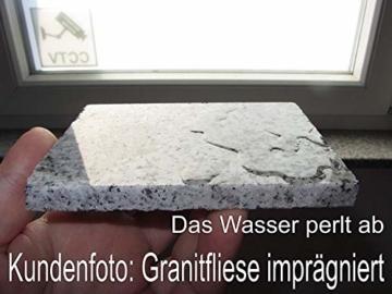 CleanPrince Natursteinversiegelung 1 Liter wasserabweisend ölabweisend, hochergiebig, frostbeständig, UV-stabil, ohne Glanz, Gartenplatten, Terrassenplatten, Klinker, Ziegel, Sandstein, Granit, unpoliertes Feinsteinzeug, offenporige Pflanzkübel aus Keramik oder Terrakotta. Es ist eine wasser- sowie fettabweisende Profi-Versiegelung auf Basis von Siloxanverbindungen. Stein Siegel Steinsiegel Steinversiegelung Natursteine Marmor Granit Fleckschutz Schutz Fleckstopp Naturstein-Versiegelung - 6