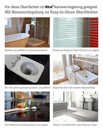 iXtral Duschwand Easy-to-Clean Nanoversiegelung Lotuseffekt für Glas Fliesen Keramik Porzellan gegen Kalk & Schmutz - Dusche reinigen mit Abperleffekt (US-Patent) - 4