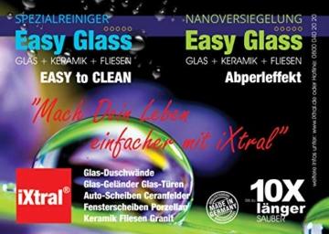 iXtral Easy Glass 2-in-1 Set Nanoversiegelung Dusche Duschwand, Glasversiegelung mit Tiefen-Reiniger Lotuseffekt Abperleffekt an Glas Fliesen Porzellan gegen Kalk & Schmutz, nicht für Acrylglas - 4