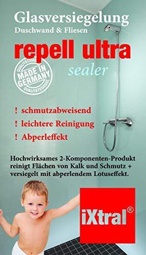 iXtral ® repell ultra Glas-Versiegelung Set gegen Kalk & Schmutz für Dusche & Fliesen. Mit Tiefen-Reiniger und Politur auch für Badewannen. - 8