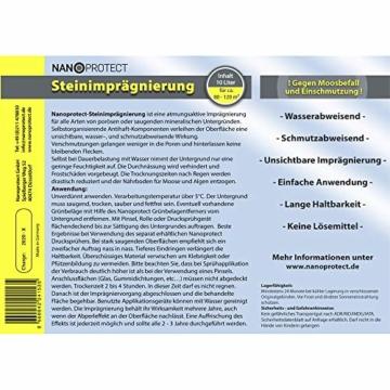Nanoprotect Steinimprägnierung mit Drucksprüher | Profi Qualität | Vorbeugend gegen Grünbelag und Einschmutzung | 10 L für ca. 80-120 m² - 2