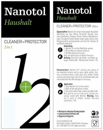 Nanotol Haushalt 2in1 Hybrid Nanoversiegelung - reinigt und versiegelt - erzeugt Schmutz abweisendes Glas - NH21-5 (500 ml) - 2