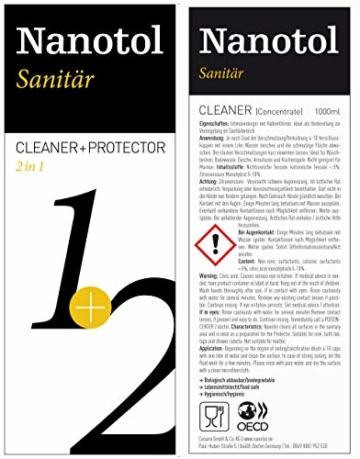 Nanotol Sanitär 1+2, Hybrid Profi Badreiniger mit Lotuseffekt, reinigt, entkalkt und versiegelt gleichzeitig NS21-6 (1000 ml) - 6