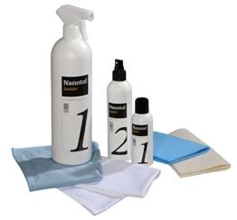 Profi Bad-Versiegelung-Set mit Lotuseffekt, Nano-Versiegelung spart 80% Reinigungszeit, Nanotol Sanitär-Set mit Cleaner & Protector + Mikrofasertücher zum Kalk-Schutz für Duschkabine, Keramik, Fliesen - 1