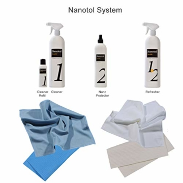 Profi Bad-Versiegelung-Set mit Lotuseffekt, Nano-Versiegelung spart 80% Reinigungszeit, Nanotol Sanitär-Set mit Cleaner & Protector + Mikrofasertücher zum Kalk-Schutz für Duschkabine, Keramik, Fliesen - 5