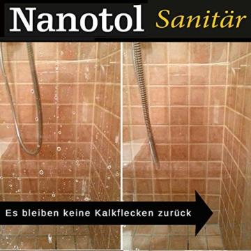 Profi Bad-Versiegelung-Set mit Lotuseffekt, Nano-Versiegelung spart 80% Reinigungszeit, Nanotol Sanitär-Set mit Cleaner & Protector + Mikrofasertücher zum Kalk-Schutz für Duschkabine, Keramik, Fliesen - 6