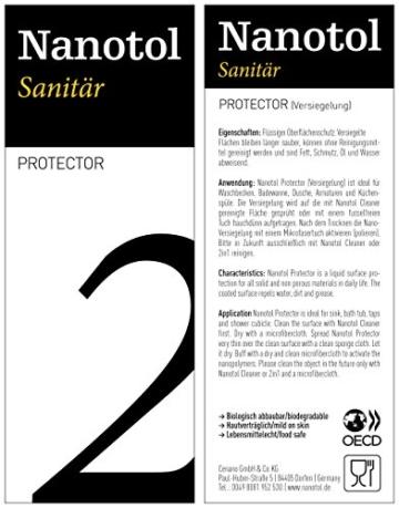 Profi Bad-Versiegelung-Set mit Lotuseffekt, Nano-Versiegelung spart 80% Reinigungszeit, Nanotol Sanitär-Set mit Cleaner & Protector + Mikrofasertücher zum Kalk-Schutz für Duschkabine, Keramik, Fliesen - 7