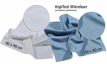 Profi Bad-Versiegelung-Set mit Lotuseffekt, Nano-Versiegelung spart 80% Reinigungszeit, Nanotol Sanitär-Set mit Cleaner & Protector + Mikrofasertücher zum Kalk-Schutz für Duschkabine, Keramik, Fliesen - 8